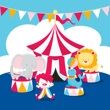 A cartoon vector illustration of a cute circus scene complete with circus tent, clowns and circus animals.
