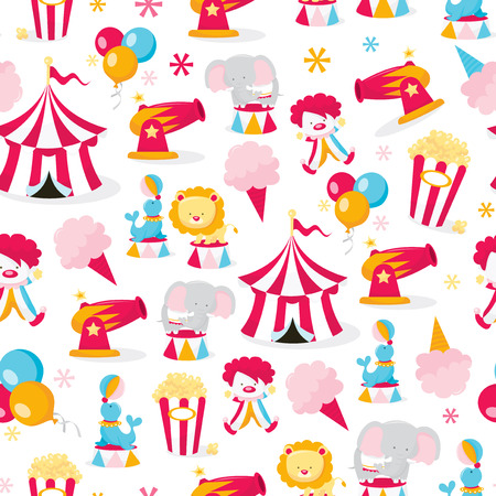 A vector illustration seamless pattern of a colorful cartoon circus theme.