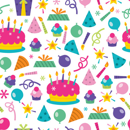 multi coloured: A vector illustration seamless pattern of a colorful cartoon birthday surprise theme.