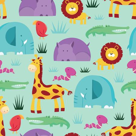 A vector illustration seamless pattern of a colorful cartoon safari animals theme.