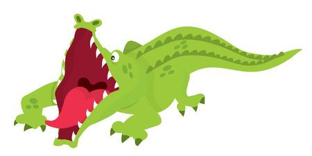 menacing: A cartoon vector illustration of a menacing looking crocodile ready to attack.