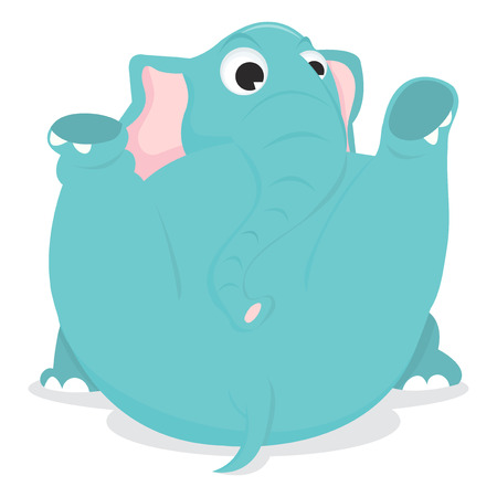 legs up: A cartoon vector illustration of a elephant sitting on its back with two legs up.