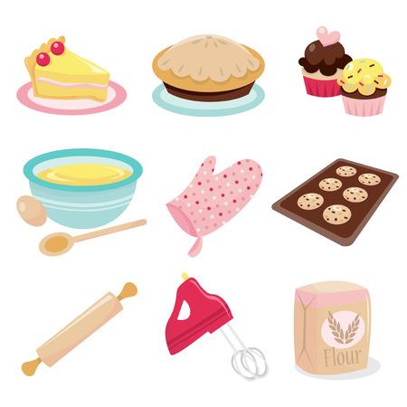 Ein Vektor-Illustration Satz von Backen verwandte Symbole wie Kuchen, Torte, Kuchen, Rührschüssel, Ofen Fäustling, Plätzchen in ein Fach, Nudelholz, Handmixer und Mehl.
