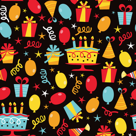 birthday candle: A vector illustration seamless pattern of a colorful retro birthday party theme.