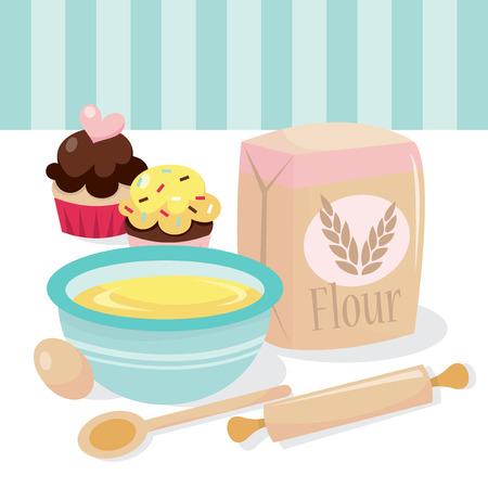 Ein Vektor-Illustration einer kleinen Kuchen Backszene komplett mit Küchenutensilien und Zutaten.