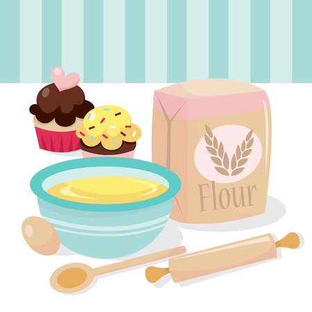 A vector illustration of a cupcakes baking scene complete with kitchen utensils and ingredients.