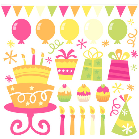 A vector illustration of birthday party related design elements. Happy and whimsical.