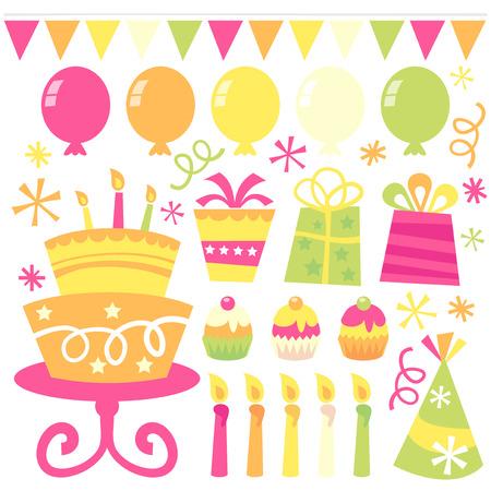 fiesta de cumpleanos: Una ilustraci�n vectorial de elementos de dise�o relacionados con la fiesta de cumplea�os. Feliz y caprichoso.