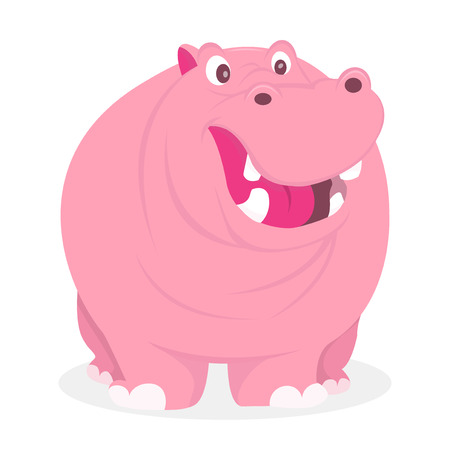 smilling: A cartoon vector illustration of a smilling hippopotamus. Illustration