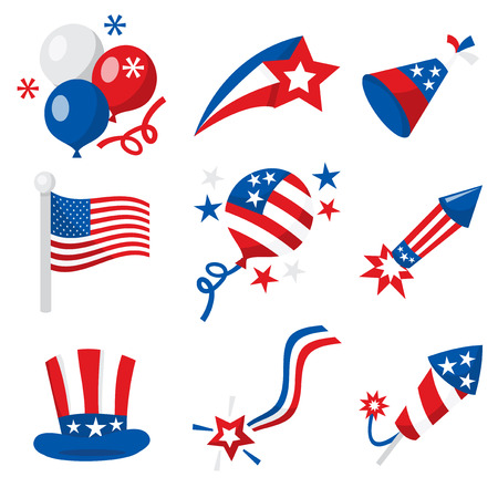 patriotic usa: A vector illustration of fourth of july or american patriotic icons like balloons, firecrackers and decorations. Illustration