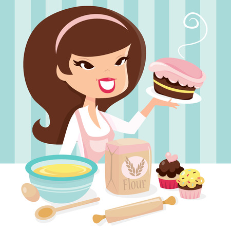 A vector illustration of a cute cartoon retro housewife/girl who enjoys baking.