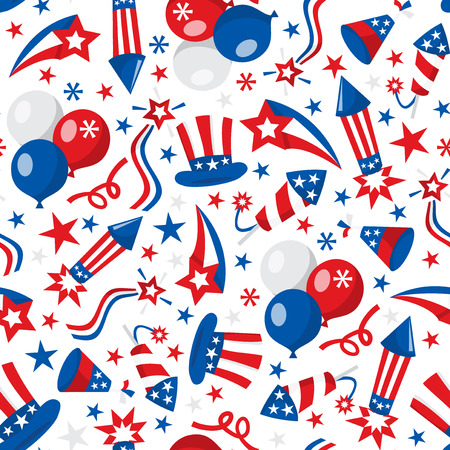 A vector illustration seamless pattern of american patriotic or fourth of july theme. Ilustracja