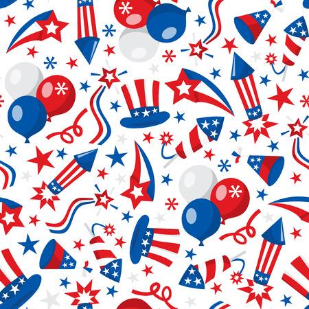 political rally: Una illustrazione vettoriale seamless di americani patriottici o quarto di luglio tema.