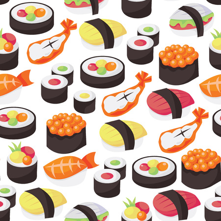 traditionally: A vector illustration seamless pattern of sushi theme.