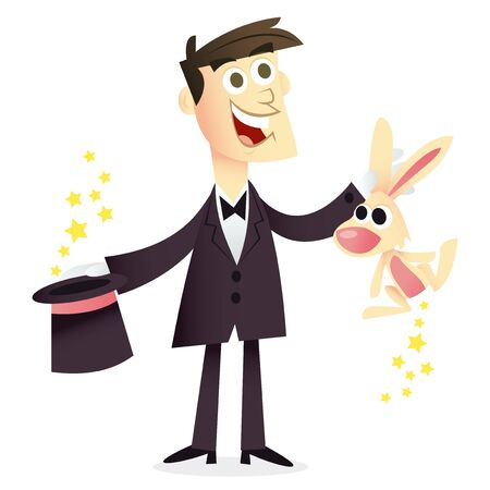 A cartoon vector illustration of a happy magician holding a rabbit and a top hat. Vector