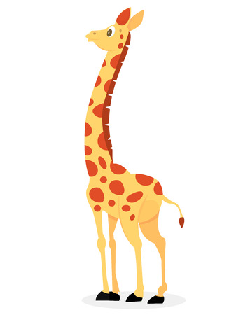 A cartoon vector illustration of a cute giraffe looking towards the background.