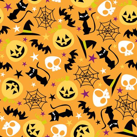 A vector illustration seamless pattern of retro halloween theme. Vector