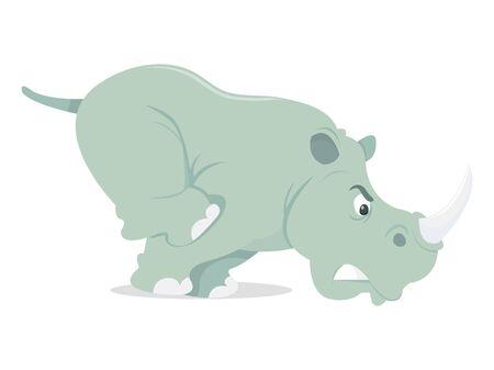 rhino vector: A cartoon vector illustration of a charging rhino.