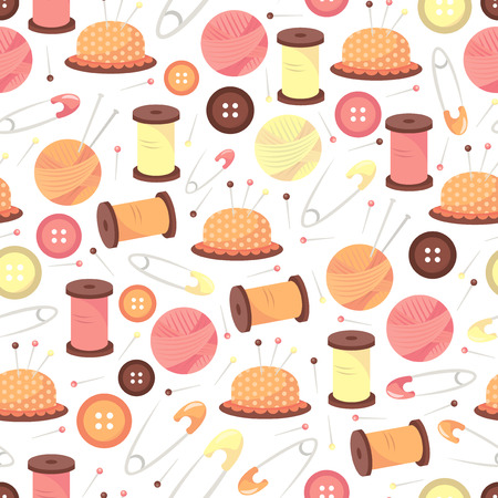 needle cushion: A vector illustration seamless pattern of cute haberdashery theme.
