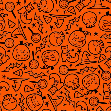 haunting: A vector illustration seamless pattern of spooky halloween icons theme. Color of the pattern can be easily changed. Illustration