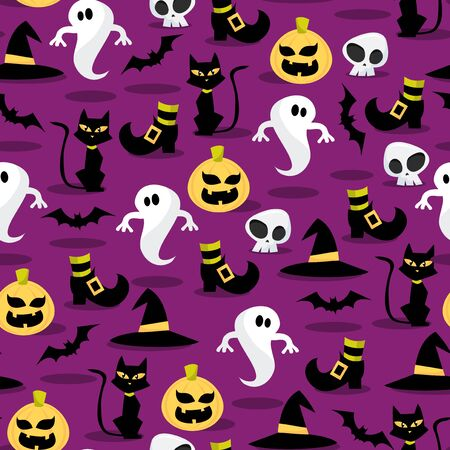 public celebratory event: A vector illustration seamless pattern of spooky halloween icons theme.