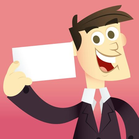 A cartoon vector illustration of a happy business man in suit holding a blank cardbusiness card. Man and background are on separate layers. Vector