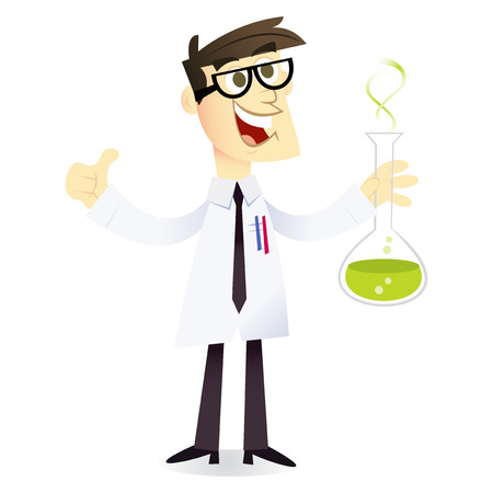 A cartoon vector illustration of a happy and geeky scientist holding a beaker with chemical liquid. Vector