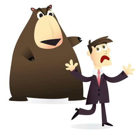 chasing: A cartoon vector illustration of a businessfinance concept: A man afraid of the bear market.