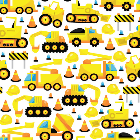 A vector illustration seamless pattern of construction trucks theme.