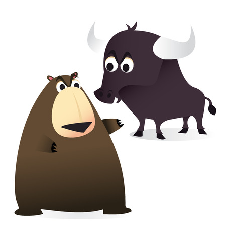 scrutiny: A cartoon vector illustration of a finance concept: Bear and bull market.