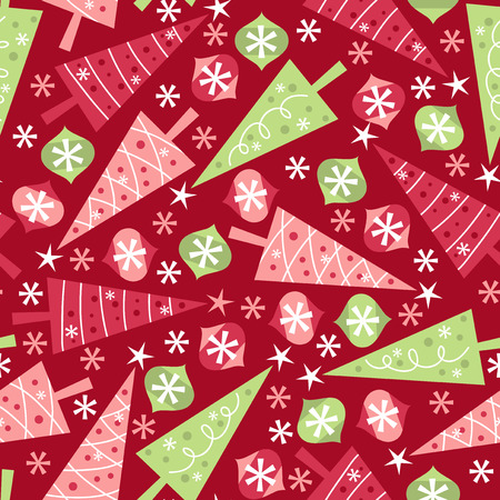 A vector illustration seamless pattern of a retro christmas theme. The red background is on a separate layer, so you can change the color easily. Vettoriali