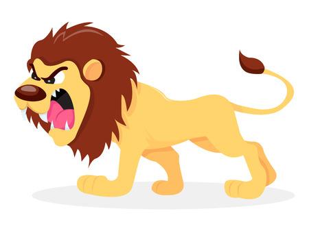 A cartoon vector illustration of a fierce lion.