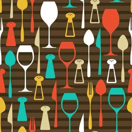 dining set: A vector illustration seamless pattern of a retro dining set theme. The background is on a separate layer, so you can change the color easily.