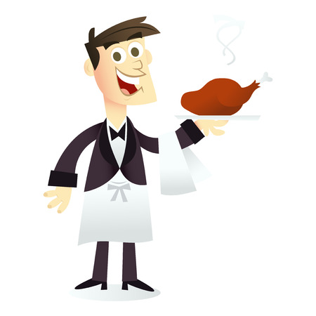waiter tray: A cartoon vector illustration of a happy smiling waiter holding a dish.