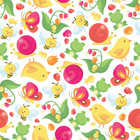 bee: A vector illustration seamless pattern of a colorful spring theme which consists of cute small creatures like frogs, honey bees and birds.