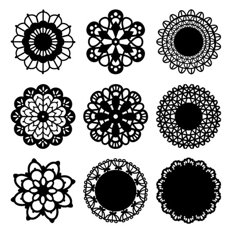 lace vector: A set of intricate doily decoration design.