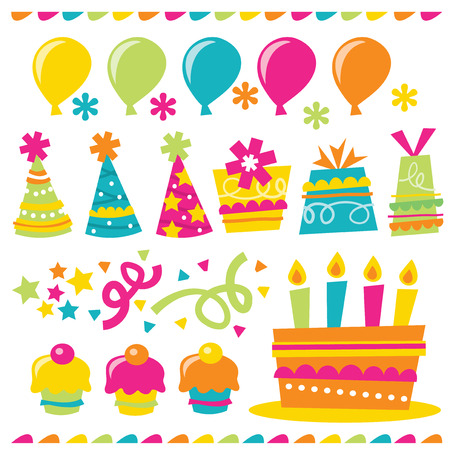 cartoon present: A vector illustration of happy and whimsical birthday party related design elements.