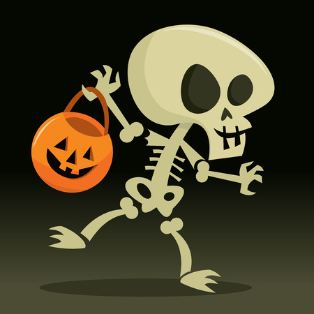 A cartoon vector illustration of a happy skeleton going trick or treat for halloween.