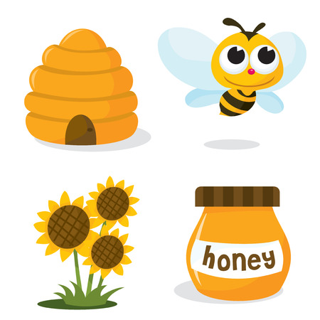 A vector illustration set of honey bee related icons like happy honey bee, beehive, honey jar and sunflower. Vector