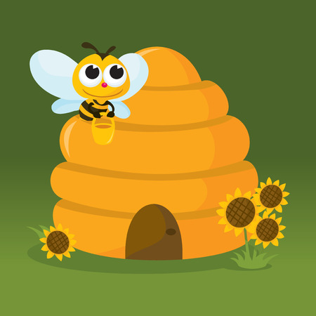 A vector illustration of a cute honey bee carrying hone back to its beehive home. Vector