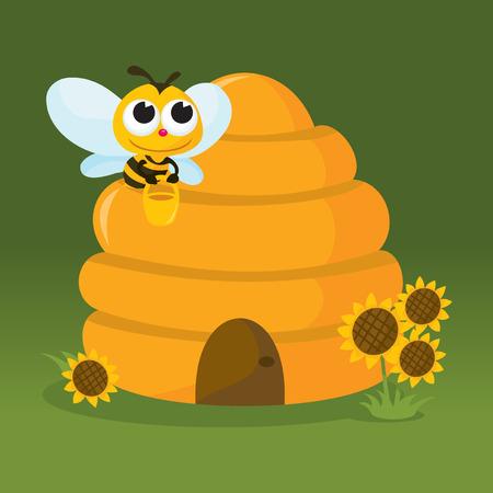 Ein Vektor-Illustration eines niedlichen Biene Trage schärfen zurück in seine Heimat Bienenstock.