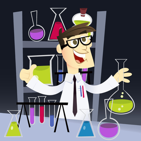 mad scientist: A cartoon vector illustration of a happy geek in science laboratory.