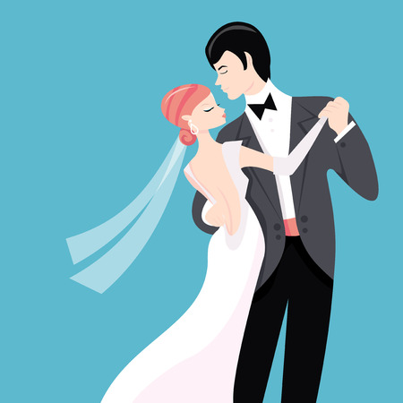 dinner jacket: A stylized vector illustration of a bride and her groom doing their first dance. Illustration