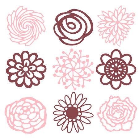 A vector illustration of nine different floral petal filigree designs. Ilustracja