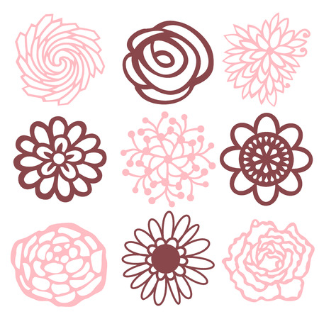 petal: A vector illustration of nine different floral petal filigree designs. Illustration