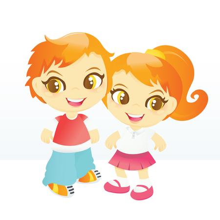 cartoon school girl: A cartoon vector illustration of a happy school boy and girl. Illustration