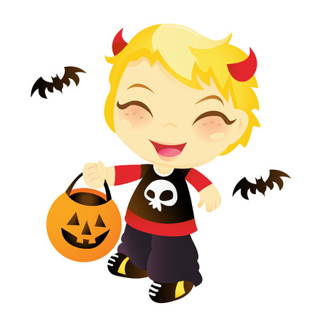 treat: A cartoon vector illustration of a cute happy boy going trick or treat on Halloween.