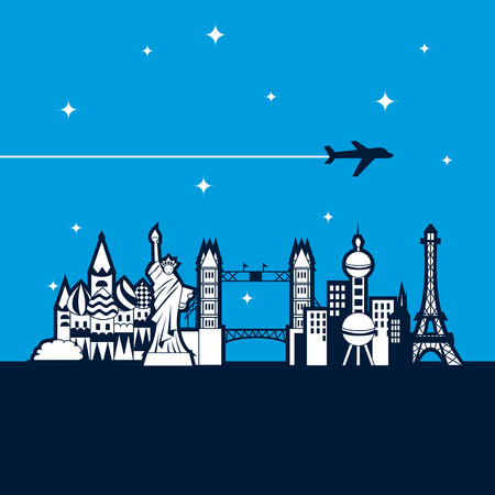 A vector illustration of nine different world iconic landmarks. Ideal for travel industry use.