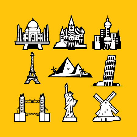 traditional windmill: A vector illustration of nine different world iconic landmarks in line art style. Ideal for travel industry use.