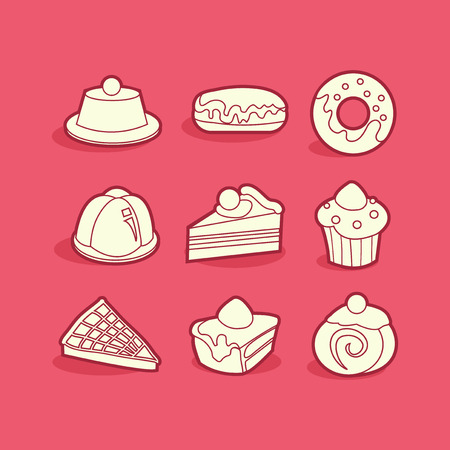 eclair: A vector illustration set of halloween related icons in cool line art style.